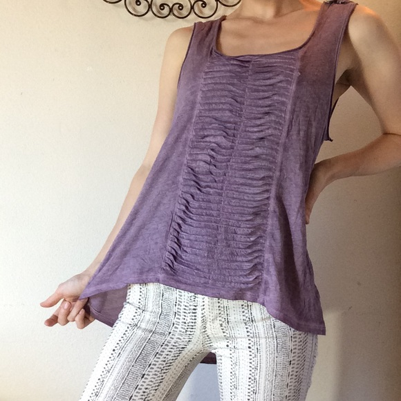 Black Swan Tops - Lavender Tye Dye Folded Pleating Loose Gypsy Top